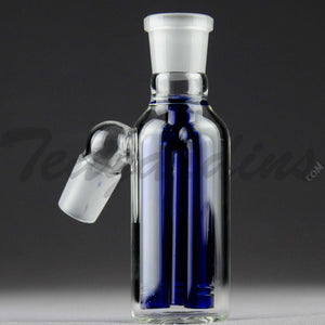 "Teagardins Glass -  Fixed 3 Arm Tree Percolator Ash Catcher / Precooler - Blue - 45 Degree Arm / 4.5"" Height 18mm Fitting"