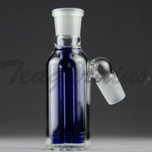 "Load image into Gallery viewer, Teagardins Glass -  Fixed 3 Arm Tree Percolator Ash Catcher / Precooler - Blue - 45 Degree Arm / 4.5"" Height 18mm Fitting"
