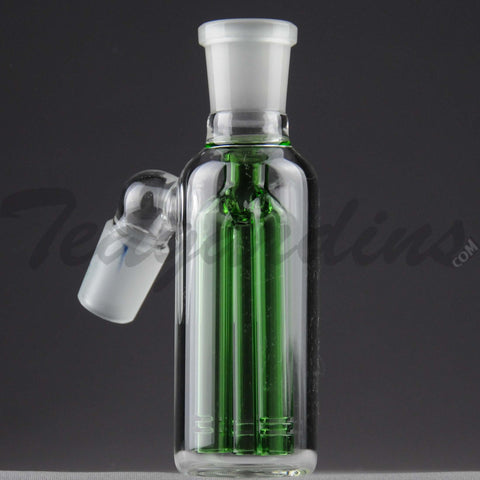 "Teagardins Glass -  Fixed 3 Arm Tree Percolator Ash Catcher / Precooler - Green - 45 Degree Arm / 4.5"" Height"
