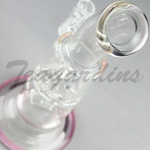 "Load image into Gallery viewer, Teagardins Glass - D.I. Bubbler - Hammerhead & Turbine Percolator Stemless Dab Rig - Pink - 5mm Thickness / 9"" Height"