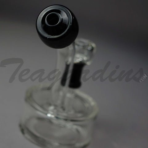 "Teagardins Glass - Black Puck - Fixed Showerhead Downstem Diffuser Dab Rig - Black - 4mm Thickness / 6"" Height"