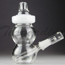 "Load image into Gallery viewer, Teagardins Glass - Baby Bottle Bubbler - Fixed Downstem Diffuser Dab Rig - White - 4mm Thickness / 6"" Height"