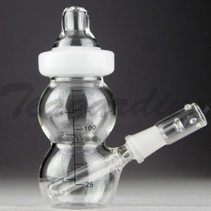 "Teagardins Glass - Baby Bottle Bubbler - Fixed Downstem Diffuser Dab Rig - White - 4mm Thickness / 6"" Height"