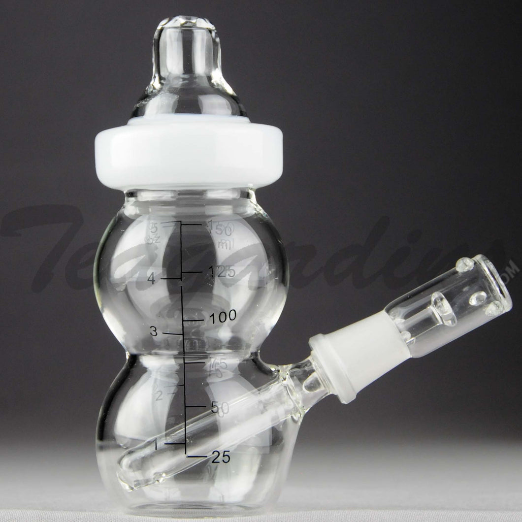 Teagardins Glass - Baby Bottle Bubbler - Fixed Downstem Diffuser Dab Rig - White - 4mm Thickness / 6