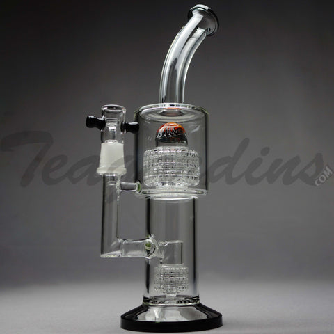 "Teagardins Glass -  D.I. Bubbler - Double Matrix & Mini Matrix Percolator Stemless Dab Rig - Black - 5mm Thickness / 13"" Height"