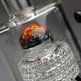 "Teagardins Glass -  D.I. Bubbler- Double Matrix Percolator Stemless Dab Rig - Black - 5mm Thickness / 13"" Height"