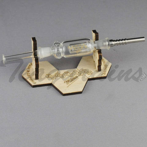 "Teagardins Glass - Honeystraw Nectar Collector - Diffuser Dab Rig - Gold Decal - 4mm Thickness / 8"" Height"