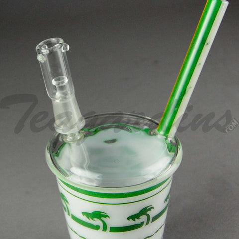 Teagardins Glass - In-N-Out Cup D.I. Oil Rig Bubbler Green