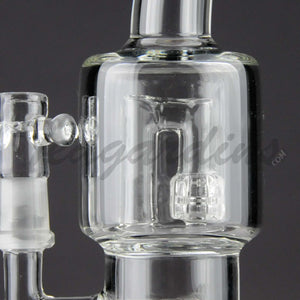 "Teagardins Glass - D.I. Bubbler - Double Matrix & Mini Matrix Percolator Diffuser Stemless Dab Rig - Black - 5mm Thickness / 9"" Height"