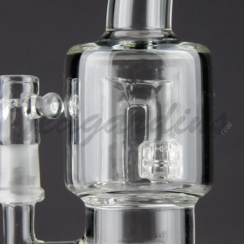 "Teagardins Glass - D.I. Bubbler - Double Matrix & Mini Matrix Percolator Diffuser Stemless Oil Rig - Black - 5mm Thickness / 9"" Height"
