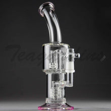 "Load image into Gallery viewer, Teagardins Glass - D.I. Bubbler - Double Matrix & Mini Matrix Percolator Diffuser Stemless Dab Rig - Pink - 5mm Thickness / 9"" Height"