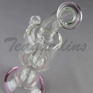 Stemless D.I. Bubbler With Matrix to Mini Matrix Percolator and Pink Foot and Mouthpiece