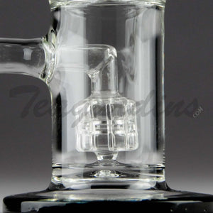 "Teagardins Glass -D.I. Bubbler - Mini Matrix to Worked UFO Percolator Stemless Dab Rig - Black - 5mm Thickness / 9"" Height"