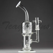 Load image into Gallery viewer, Teagardins Glass - Stemless D.I. Bubbler With Mini Matrix to Worked UFO Percolator and White Foot and Mouthpiece