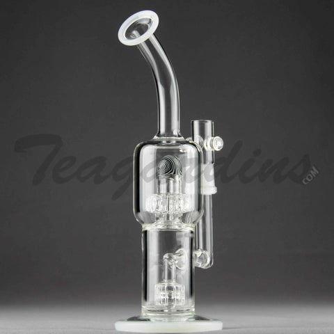 Teagardins Glass - Stemless D.I. Bubbler With Mini Matrix to Worked UFO Percolator and White Foot and Mouthpiece