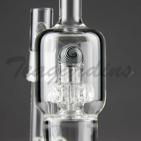 "Teagardins Glass - D.I. Bubbler - Mini Matrix to UFO Percolator Stemless Dab Rig - White - 5mm Thickness / 9"" Height"