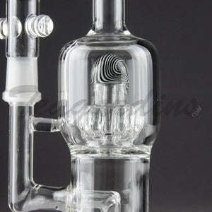 "Teagardins Glass -D.I. Bubbler - Mini Matrix & UFO Percolator Stemless Dab Rig - Black White - 5mm Thickness / 9"" Height"