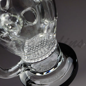 "Teagardins Glass - The Rotten Apple - Honeycomb & Faberge Egg Percolator Stemless Dab Rig - Black - 5mm Thickness / 10"" Height"