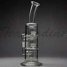 "Load image into Gallery viewer, Teagardins Glass - Triple Chamber - Double UFO & Showerhead Percolator Stemless Dab Rig - 5mm Thickness / 13"" Height"