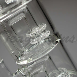 "Teagardins Glass - Triple Chamber - Double UFO & Showerhead Percolator Stemless Dab Rig - 5mm Thickness / 13"" Height"