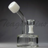 Teagardins Glass - White Puck Oil Rig Bubbler