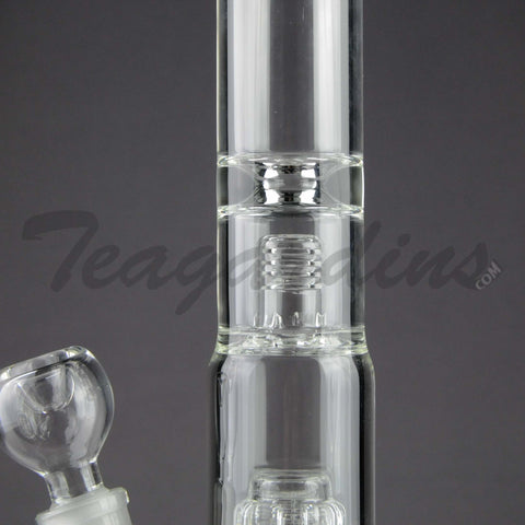 "Teagardins Glass - Stemless Double Chamber Straight Water Pipe - 5mm Thickness / 12"" Height"