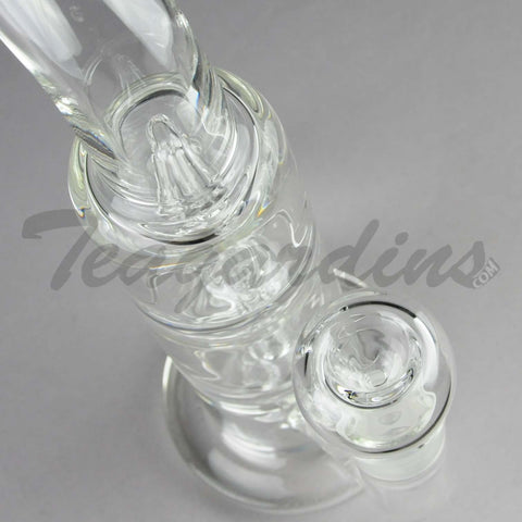 "Teagardins Glass - Triple Chamber Quad Showerhead Percolator Fixed Showerhead Downstem Straight Water Pipe - 4mm Thickness / 10"" Height"