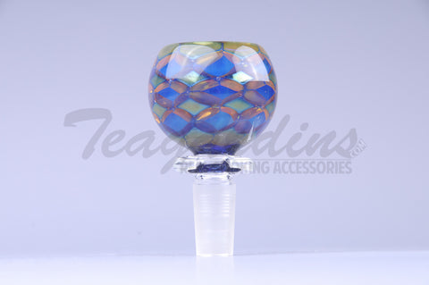 Worked Worked Glass on Glass Diamond Pattern 14mm Bowl
