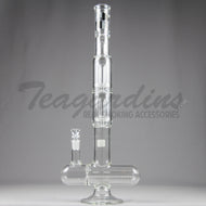 ZOB Glass - Triple Chamber - Double Showerhead Percolator & Inline Diffuser Straight Water Pipe - 5mm Thickness / 23