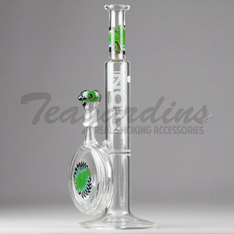 "Zob Glass - Bubbler Disc - Straight Water Pipe - Green Black - 5mm Thickness / 12.5"" Height"