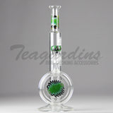 "Zob Glass- Disc Straight Water Pipe - Green Black - 5mm Thickness / 12.5"" Height"