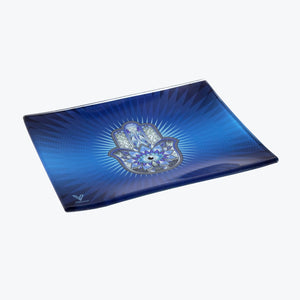 V-Syndicate - Glass Rolling Tray Hamsa Blue