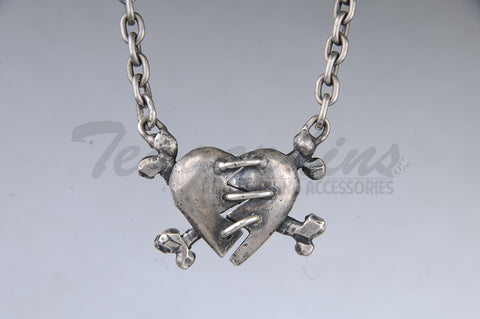 Pork Chop Jewelry Sewn Heart Crossbones Pendant
