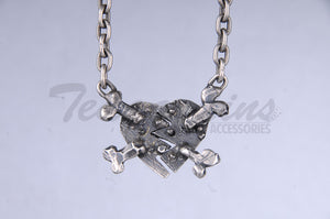 Pork Chop 925 Sterling Silver Goth Jewelry Hand Made Heart Pendant