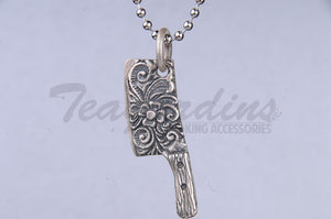 Pork Chop 925 Sterling Silver Goth Jewelry Hand Made Cleaver