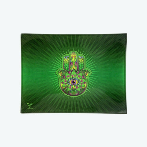 V-Syndicate - Glass Rolling Tray Hamsa Green