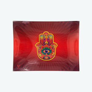 V-Syndicate - Glass Rolling Tray Hamsa Red