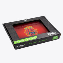 Load image into Gallery viewer, V-Syndicate - Glass Rolling Tray Hamsa Red