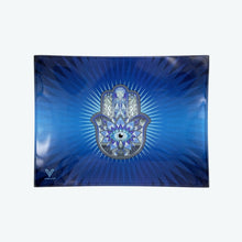 Load image into Gallery viewer, V-Syndicate - Glass Rolling Tray Hamsa Blue