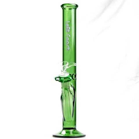 "Left Coast Glass - Diffuser Downstem Straight Water Pipe - Green Glass / White Decal - 4mm Thickness / 13"" Height"