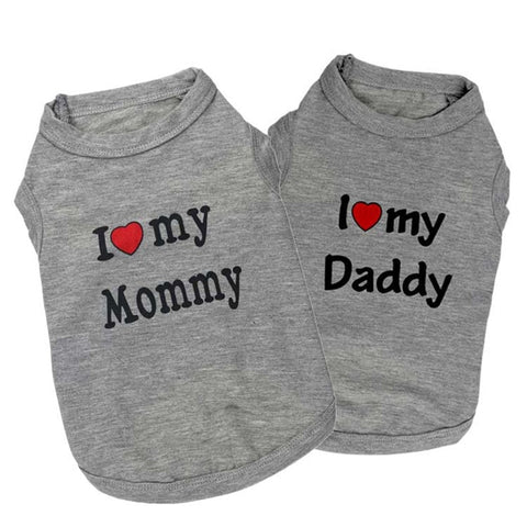 "Adorable T-shirt ""i love daddy"" ""i love mommy"" pour chihuahuas"