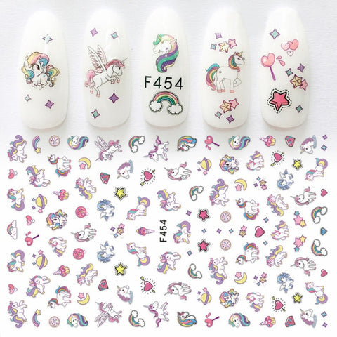 Stickers ongles pour Nail Art licorne