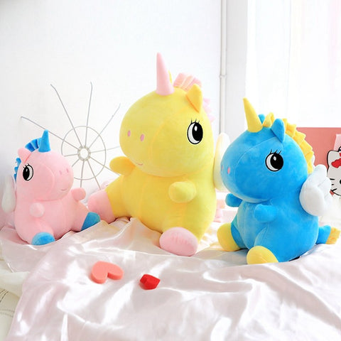 Adorable, smooth and colorful unicorn stuffed toys.