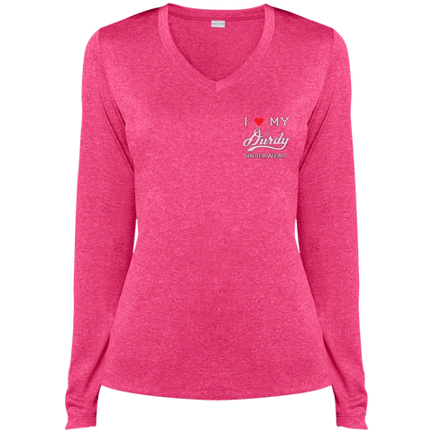 Durdy Underwear Sport-Tek Ladies' LS Heather Dri-Fit V-Neck T-Shirt