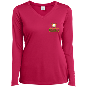 Durdy Country Club Sport-Tek Ladies' LS Performance V-Neck T-Shirt