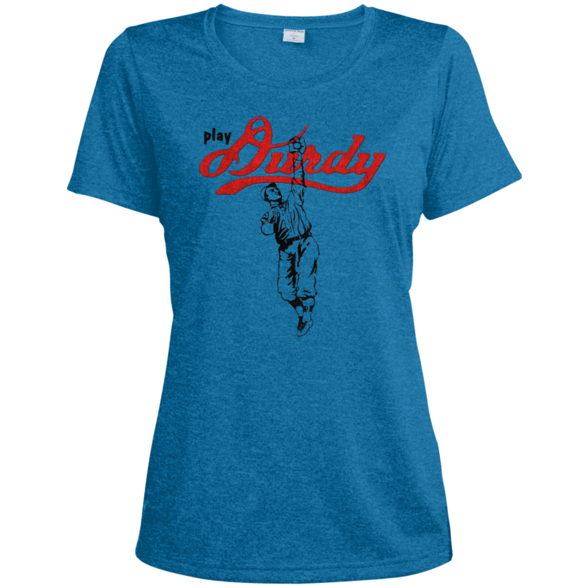 Play Durdy Sport-Tek Ladies' Heather Dri-Fit Moisture-Wicking T-Shirt