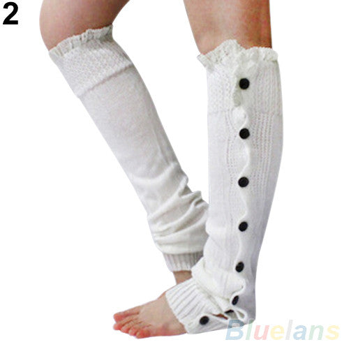 Women's Crochet Knitted Stocking Leg Warmers Button Lace Trim Legging Boot