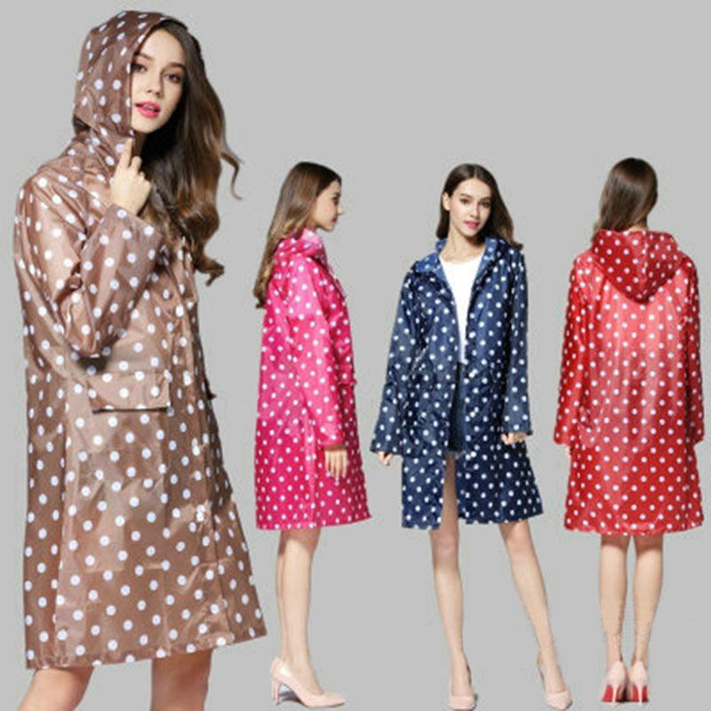 Waterproof Dots Raincoat Portable Outdoor Travel Rainwear Camping Hooded Ponchos