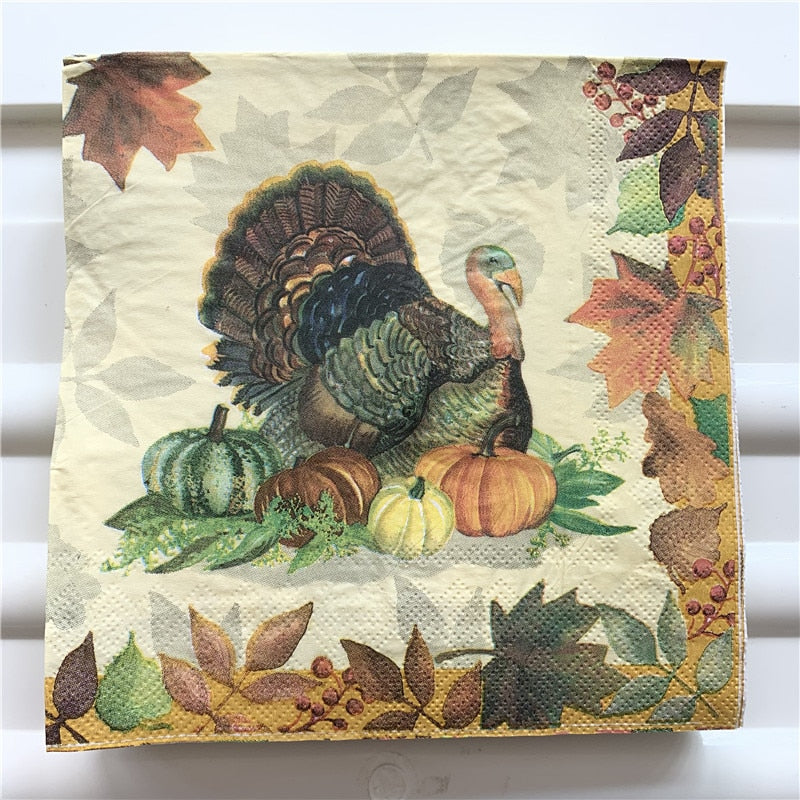(Happy Thanksgiving) 20 Vintage Table Christmas Napkins Paper For All Occasions