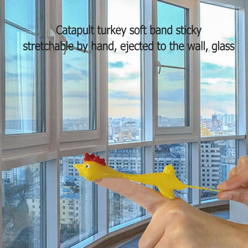 (Happy Thanksgiving) Novelty Gags Joke Finger Toys Funny Stretchy Flying Laugh Turkey Sticky Chicken